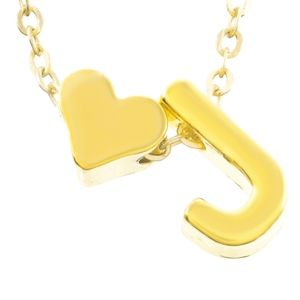 Jewelry - Gold Heart & J Initial Charm Necklace